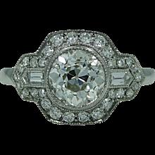 Old European Cut 1.41 Carat Diamond Platinum Ring