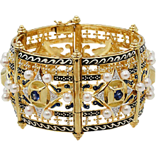 Renaissance Revival Diamond Sapphire Pearl Gold Cuff Bangle