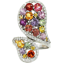 14K White Gold Multicolored Sapphire And Diamond Ring