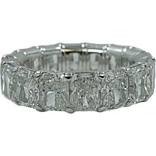 Platinum 14.43 Carat Emerald Cut Diamond Eternity band