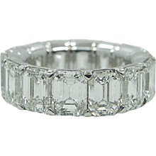 Platinum 11.18 Carat Radiant Diamond Eternity Band
