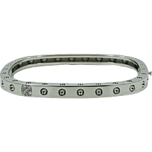 18K White Gold Roberto Coin Pois Moi Diamond Bangle