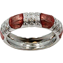 White Gold Estate Hidalgo Ring With Pink Enamel and Diamonds