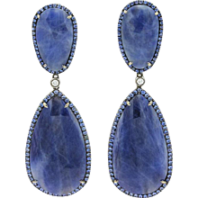 18K White Gold Sapphire And Diamond Earrings