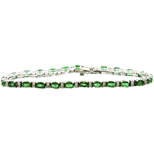 18K White Gold Emerald And Diamond Bracelet