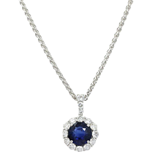 18K White Gold Sapphire And Diamond Pendent