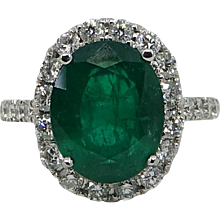 18K White Gold 5.20 Carat Oval Cut Emerald and Diamond Ring
