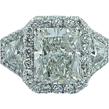 Platinum 4.25 Radiant White Diamond Ring