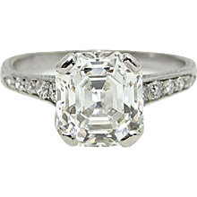 2.46 Carat Rectangular Step Cut Diamond Platinum Engagement Ring