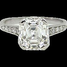 2.46 Carat Rectangular Step Cut Diamond Platinum Engagement Ring