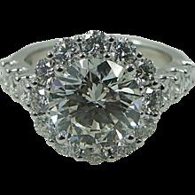 Platinum 3.06 Carat Round Brilliant Diamond Engagement Ring