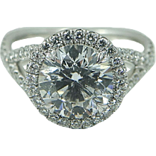 Platinum 2.52 Carat Round Brilliant Diamond Engagement Ring