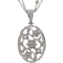 18K White Gold Penny Preville Clip On Diamond Pendant On A Double Chain Necklace