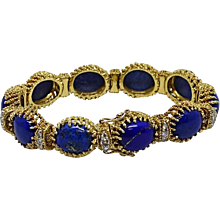 18K Yellow Gold La Triomphe Oval Lapis and Diamond Bracelet