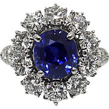 Van Cleef & Arpels 3.39 Carat Kashmir No Heat Sapphire Diamond Platinum Ring