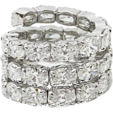 18.80 Carat Oval Diamond Spiral White Gold Ring