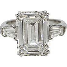 7.08 Carat GIA Certified Emerald Cut Diamond Platinum Ring