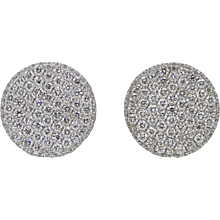 1.90 Carat Diamond Button White Gold Earrings