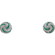 Round Brilliant Diamonds and Calibre Cut Emerald White Gold Earrings