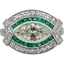 Marquise Diamond and Emerald Platinum Ring