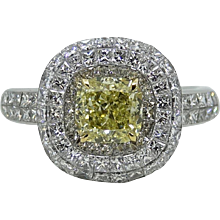 Platinum and 18K Yellow Gold Cushion Cut Yellow Diamond Ring