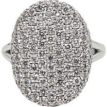 2.10 Carat Pave Diamond White Gold Ring