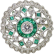 Emerald and Diamond White Gold Ring