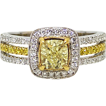 1.01 Carat Cushion Cut Yellow Diamond White and Yellow Gold Ring