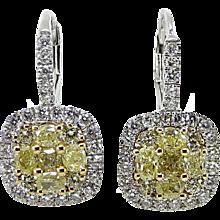 Fancy Yellow Diamond and White Diamond Two Toned Dangle Earrings