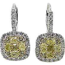 Fancy Yellow Diamond and White Diamond Two Toned Dangle Earrings