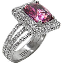 4.95 Carat Natural Spinel and Diamond Platinum Ring