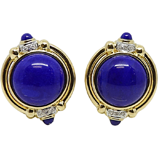 Yellow Gold Blue Lapis and Diamond Earrings