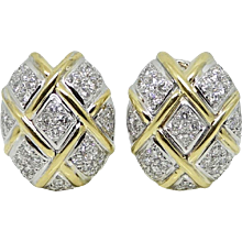 18K Two Toned Diamond Earrings