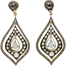 Victorian Style Rose Cut and Round Cut Diamond Yellow Gold Earrings