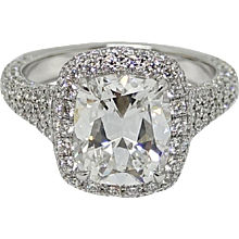 Platinum 3.02 Cushion Cut Diamond Ring