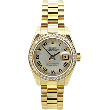 Rolex Ladies President Datejust Mother Of Pearl Yellow Gold Watch Model 179138