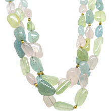Katy Briscoe Tumbled Multi Stone Necklace with Yellow Gold Chinati Clasp