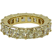 18K Yellow Eternity Band With Radiant Yellow Diamonds