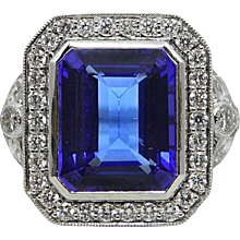 18K White Gold 7.03 Carat Tanzanite and Diamond Ring