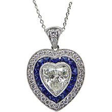 18K White Gold Sapphire and Diamond Heart Shaped Pendant Necklace