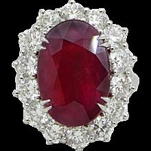 Platinum 10.18 Carat Ruby and Diamond Ring