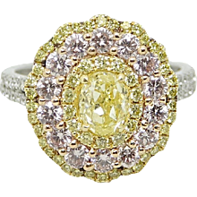 3.01 Carat Fancy Yellow and Pink Diamond Ring