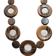 Round Wood Beads and Pave Diamond Pamela Huizenga Necklace