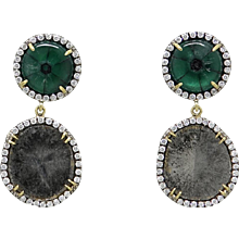 Pamela Huizenga Trapiche Emerald and Diamond Slice Earrings