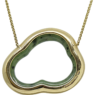 Pamela Huizenga Silver Lining Nephrite Yellow Gold Necklace