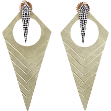 "Julez Bryant Yellow Gold ""Long Kite"" Style Earrings"
