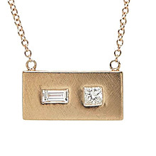 Julez Bryant Rose Gold Rectangular Pendant Necklace