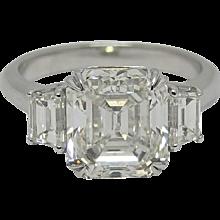 Platinum 5.02 Carat Three Stone Ring
