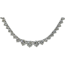 18K White Gold Three Prong Graduated Riviera Diamond Necklace