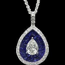 18K White Gold Sapphire And Diamond Stadium Pendant Necklace